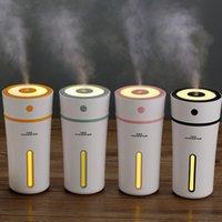 humidificador de sala de aromas al por mayor-Mini humidificadores de taza de aceite esencial difusor de ultrasonidos USB Aroma Mist LED humidificador para oficina dormitorio del bebé habitación 300 ml RRA842