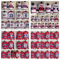 jean beliveau venda por atacado-Camisas de hóquei do vintage Jean-Montréal Canadiens Patrick Roy Maurice Richard Carey Guy Lafleur Jean Beliveau homem e Juventude Hockey Jerseys