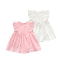 Wholesale baby knee cap resale online - 2018 Summer Infant Dresses For Baby Girl Clothes Newborn Princess Jumpsuit Dress Baby Girl Birthday Dress Wedding Dress Party J190614