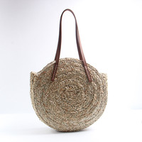 Wholesale woven handbags totes for sale - Women Travel Round Straw Bags Fashion Natural Oval Beach Bag Creative Hand Woven Circle Handbag Lady Outdoor Shopping Tote TTA571