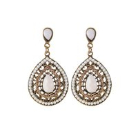 ingrosso pietra preziosa goccia d'acqua dell'orecchino-Orecchini goccia di goccia della Boemia Water Goccia per le donne Ladies Europe Vintage Gemstone Beaded Earring Party Jewelry Accessories