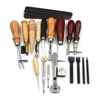 ingrosso utensili di lavoro in pelle mestiere-18PCS Leather Craft Tools Kit Cucitura Cucitura Intaglio Lavoro Punzonatura Sella Leathercraft Accessori per la lavorazione della pelle mano fai da te