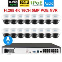 système de sécurité extérieur de dôme achat en gros de-16CH 4K NVR System 48V 5Mp Audio Sécurité audio In / Outdoor DOME Caméra Anti-Vandalisme POE Onvif Camera Kit de surveillance vidéo 2tb