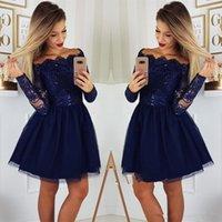 d007a32d Azul marino de manga larga Vestidos de Fiesta Cortos 2019 Scoop Lace A Line  Vestido de fiesta de cóctel atractivo Vestido de graduación de 8vo grado  Vestido ...