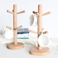 ingrosso tazza di tè-6 ganci a forma di albero in legno caffè tazza da tè portaoggetti portaoggetti stand casa cucina tazza appesa cyq0044