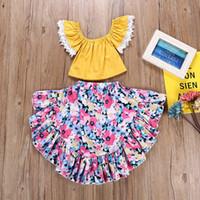 gelber tutu rock baby mädchen großhandel-Mädchen Gelb Flare Ärmel T-Shirt rosa Tutu Rock Kinder Kinder Baby Mädchen Sommer Kleidung Prinzessin Kleider Sets # 25
