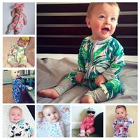 Wholesale baby clothing online - Newborn Printed jumpsuits styles Cotton Floral Striped animals Romper Ins print Baby Long Sleeve Children Infant clothes AAA1676