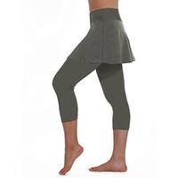 ingrosso i pantaloni del pannello esterno di yoga-Gonna sportiva da donna Leggings Pantaloni da tennis Patchwork Yoga Pantaloni Sport Fitness Culotte tagliate Elastico Sport Leggings elasticizzati