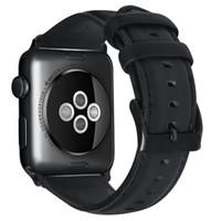 accesorios de pulsera pulsera al por mayor-Lujo cera de aceite de cuero genuino pulsera correa para banda de reloj de Apple 42/38/44 / 40mm WristBand accesorios correa de reloj serie 4 3 2 1