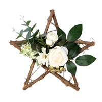 Wholesale blue rose pendant for sale - Group buy Artificial Plant Rattan Rose Wreath Wooden Five Pointed Star Pendant Garlands Home Decor