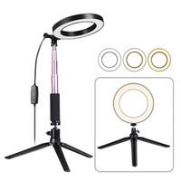 светодиодная подсветка стендов оптовых-LED Кольцо света с штатив палка для селфи, 6-дюймовый Затемняемый пол/стол Кольцевая лампа для селфи, макияж, Прямой эфир, Youtube, Vlog