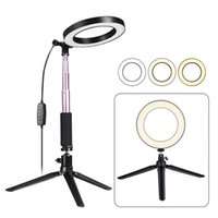 штатив дюймовый оптовых-Светодиодный кольцевой светильник с подставкой для штатива Selfie Stick, 6-дюймовая регулируемая лампа для пола / стола с подсветкой для селфи, макияжа, прямой эфир, Youtube, Vlog
