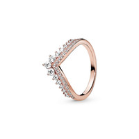 Wholesale sterling silver filled resale online - 18K Rose gold plated Wedding Rings Original Box for Pandora Sterling Silver Princess Wishbone Ring Women Gift CZ Diamond RING Sets