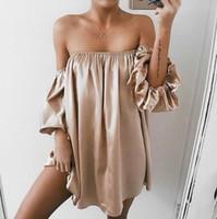 boş etekler toptan satış-Meme kollu gecelikle ile kadınlarda Yaz sıcak tarzı eğlence plaj kelime led fener kollu gevşek elbise etek