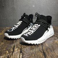 cc m toptan satış-Sadece iyi sat! PW X CC HU Deadstock Pharrell Williams İnsan Yarışları Coco Siyah Erkek Kadın Beyaz Koşu Ayakkabıları eğitmenler Yarış Koşucu sneakers