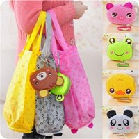 Wholesale frog tool for sale - Group buy Environmental Storage Handbag Lovely Animal Frog Bear Printing Folding Portable Tote Bags With Buckle Convenient Outdoor Useful hlH1