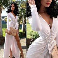balo elbisesi boyun sırtı tasarımı toptan satış-Seksi Beyaz Uzun Elbise Yarık Ile Özel Durum Elbise Abiye V Yaka Gelinlik Modelleri Kat Uzunluk Uzun Kollu Pleats Yeni Tasarım