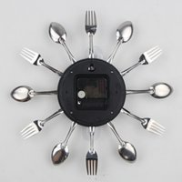 reloj de pared moderno nuevo diseño al por mayor-Nuevo Diseño cubiertos de metal reloj de pared de la cocina Cuchara Tenedor creativo de cuarzo montado en la pared Relojes de diseño decorativo moderno del Reloj Murale