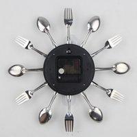 duvar çatalı toptan satış-Yeni Tasarım Çatal Metal Mutfak Duvar Saati Kaşık Çatal Yaratıcı Kuvars Duvar Saatleri Modern Tasarım Dekoratif Horloge Murale Monteli