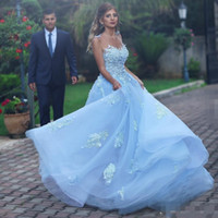 Wholesale yellow lace wedding dresses resale online - Light Sky Blue Wedding Dresses With Sheer Neckline Appliques Cuntrey Style Boho Bridal Dresses Backless Tulle Wedding Gowns