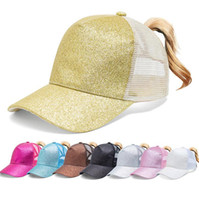 Wholesale baseball cap snaps resale online - Glitter Ponytail Baseball Cap Women Snap Back Mesh Summer Hat Female ponytail baseball tennis Sports cap hat LJJK2030