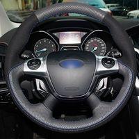 Wholesale ford steering wheel covers resale online - DIY Hand sewing Black Genuine Leather Black Suede Blue Thread Car Steering Wheel Cover for Ford Focus KUGA
