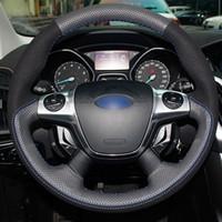 ingrosso copertura del volante in pelle cucita-Fai da te cucito a mano in vera pelle nera in pelle scamosciata nera filo blu volante coprivolante per Ford Focus 3 2012-2014 KUGA 2013-2016