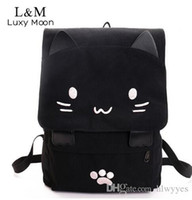 Wholesale girls cat school bags for sale - Group buy Cute Cat Canvas Backpack Cartoon Embroidery Backpacks For Teenage Girls School Bag Casual Black Printing Rucksack Mochilas XA69H