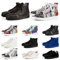 Wholesale designer spiked shoes resale online - New designer shoes Studded Spikes fashion Red suede leather Mens Womens flat bottoms luxury shoes Party Lovers Sneakers size with box