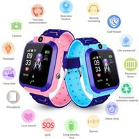 montre imperméable aux gps pour les enfants achat en gros de-Q12 1,44 pouce Smartwatch étanche pour enfants caméra à écran tactile montres enfants IP67 SOS GPS Positionnement appelant horloge