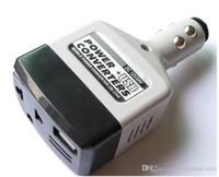 автомобильные зарядные устройства для мобильных телефонов оптовых-Универсальный 2 В 1 DC 12 В 24 В в AC 220 В Авто Мобильный Автомобильный Преобразователь Питания Инвертор Адаптер Зарядное Устройство С Зарядным Устройством USB Разъем Зажигалки с Отслеживанием
