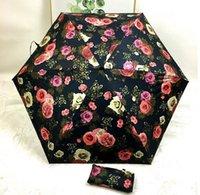 paraguas rosa plegable al por mayor-Paraguas de las mujeres Clásico de la moda Portátil súper ligero plegable portátil 5 Fold beach sunshadeMini portátil plegable Rose Rain Sun Umbrella