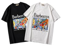 pintura de ropa al por mayor-Marca camiseta Bur + white + berrys luxury SSbrand camiseta pintura al óleo impresión de caballos camisa de los hombres sudadera ropa camiseta caliente
