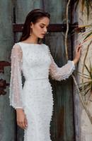 Wholesale gold mermaid wedding gown for sale - Group buy Elegant Bateao Poet Long Sleeves Mermaid Wedding Dress Luxury Pearl Beaded Sheath Bohemian Beach Bridal Gown Custom Made