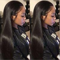afroamerikanische natürliche lange haare großhandel-Lange gerade natürlich aussehende Haare glueless Lace Front wi volle Haarspitzeperücke für Afroamerikaner woman14-26inch hitzebeständig
