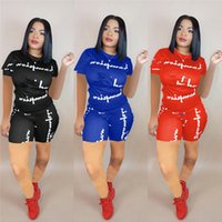 Wholesale women s silk sleep set for sale - Group buy Women Champions Print Shorts Tracksuit Short Sleeve Tshirt Tops Shorts Pants Set Outfit Sportswear Summer Jogger Suit S XL New A425