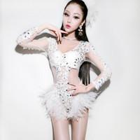 женская одежда для певцов оптовых-Сценическая одежда для певиц женского пола Белое кружевное боди Джазовые танцевальные костюмы Женский ночной клуб Dj Ds Performance Wear DN2922