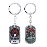 Wholesale antique square pendants resale online - Game Metro Keychain Men Metal Square Dog Tag Key Chain Ring Women Backpack Pendant Jewelry llaveros hombre Boyfriend Gift
