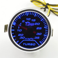 turbo-turbine großhandel-Universal 52mm Auto getönte Turbo Turbine Ladedruckanzeige Turbo Meter blaue Hintergrundbeleuchtung Freies Verschiffen