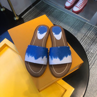 Wholesale women fashion canvas flats resale online - ESCALE LOCK IT FLAT MULE A7TO6 A7TNC A7TP0 Summer Women Designer Colorful Patent Tie Dye Canvas Padded Heel Leather Outsole Slippers