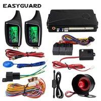 çağrı cihazını göster toptan satış-EASYGUARD 2 Yönlü Oto Alarm Sistemi uzaktan oto Başlat LCD Çağrı Ekran titreşim alarmı evrensel DC12V sensörü güvenlik