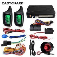 mostrar paginador al por mayor-la seguridad del sensor universal de 12V CC EASYGUARD 2 vías del coche sistema de alarma automático de inicio remoto LCD Display Pager alarma de vibración