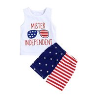 Wholesale sleeveless pants shirt resale online - Children Striped Print Vest American Flag Independence National Day USA th July Summer Letter Star Print T Shirt Stripe Pants Two Piece Set