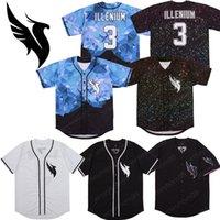 ingrosso baseball di diamanti-Personalizzato Illenium Jersey 3 # Uomo versione Bianco Nero cucito moda Diamond Edition baseball maglie trasporto libero
