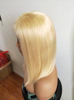 nuevas pelucas de verano al por mayor-Pelucas delanteras de encaje 613 Rubio Bob Cabello humano liso Pre arrancado Cabello natural para el cabello del bebé Para la moda de verano de nueva york