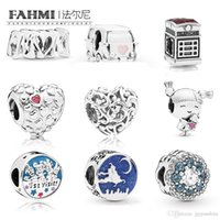 Wholesale mum flowers resale online - FAHMI Sterling Silver New Telephone Booth Camper Van Mum Script st Visit Friends Magic Carpet Ride Blue Flower DIY Jewelry
