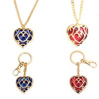 mini llaveros en forma de llave al por mayor-The Legend of Zelda corazón collar de cristal colgante y llaveros rojo azul forma de amor joya collar de cadena llavero C6869