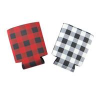 types de boissons achat en gros de-Rouge noir à carreaux peut couvre isolé tasse en néoprène couverture types colorés boissons refroidisseur sac ustensiles de cuisine ménage LJJQ110