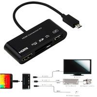 mikro usb otg hdmi toptan satış-5 in 1 Mikro-11 p 11 Pin Mikro USB hdmi Dönüştürücü Kablosu Bağlantı Kiti OTG SD TF M2 Kart Okuyucu 2.0 Ana Bilgisayar HDTV AV HUB Adaptörü