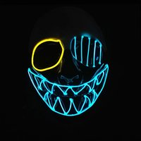ingrosso neon crani dei luci-Tre modalità di luce EL Wire Skull Mask LED Light Up Neon Mask per Halloween Luminoso ballo in maschera di Carnevale Decorazione del partito forniture